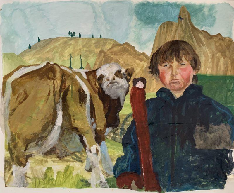 Selbstportrait mit Kuh von Jakob Brandstätter